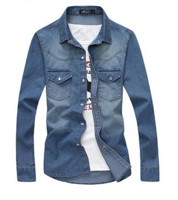 Hot Sale Men Denim Shirt Men Full Sleeve Casual Shirt Fashion Slim Mens Jeans  Shirts Jeans 400a0673fb1