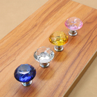 1PCS Crystal Glass Door Handles Pulls Knobs For Cupboard Wardrobe Drawer Clear Kitchen Cabinet Furniture Accessories in 4 Colors