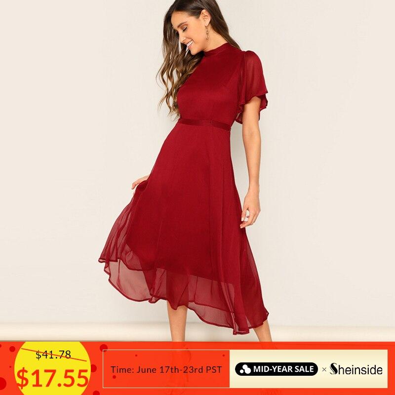 90b5186673e4c5d Sheinside Элегантные рукава-крылышки шифон Вечерние Платье Для женщин 2019  Летние Боди со шнуровкой и вырезом на спине платье миди платья для женщ.