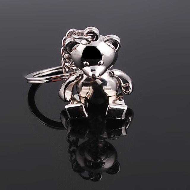 metal bear keychains lovely zinc alloy animal teddy key chain for girl key rings women handbag charm accessory drop shipping