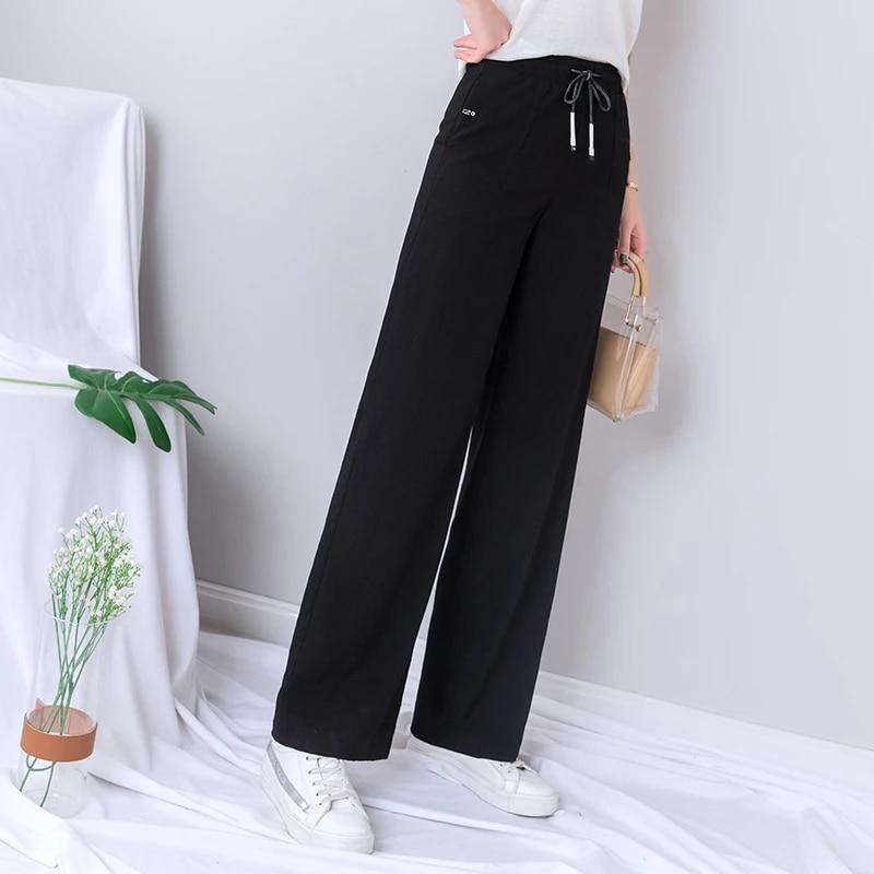 crêpe Jersey Medium rideaux magnifiquement Pantalon noir large long Jambe palatso type