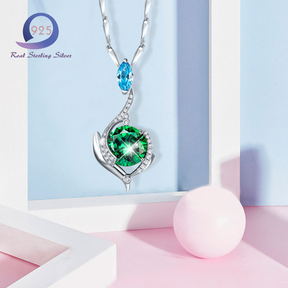 Merthus 925 sterling silver chain necklace mystic green lab created merthus 925 sterling silver chain necklace mystic green lab created emerald pendant necklaces charm women trendy fashion jewelry in pendant necklaces from mozeypictures Image collections