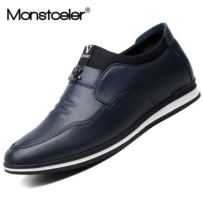 Monstcelerмодные кожаные мужские лоферы; британский стиль; Мужская обувь из воловьей кожи; мужская повседневная обувь на плоской подошве для вождения
