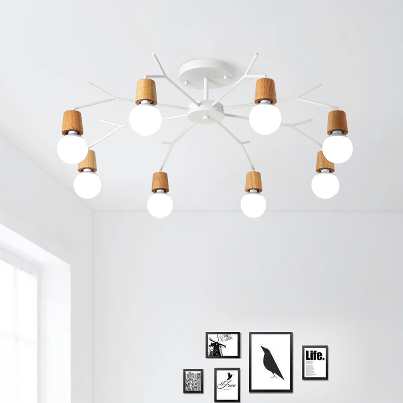ledNordic living room ceiling lamp personality creative simple wooden restaurant lamp room bedroom study office lighting