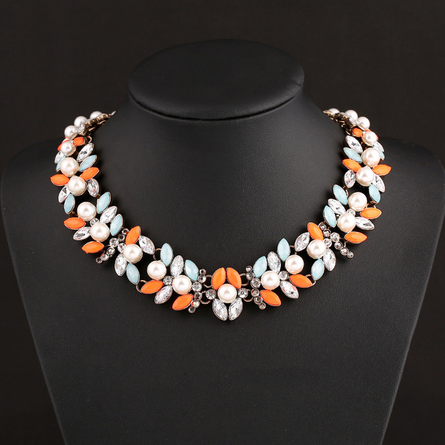New 2014 High Quality ZA Jewelry Colourful Pearl Rhinestones Crystal Chokers Necklaces Women Jewelry