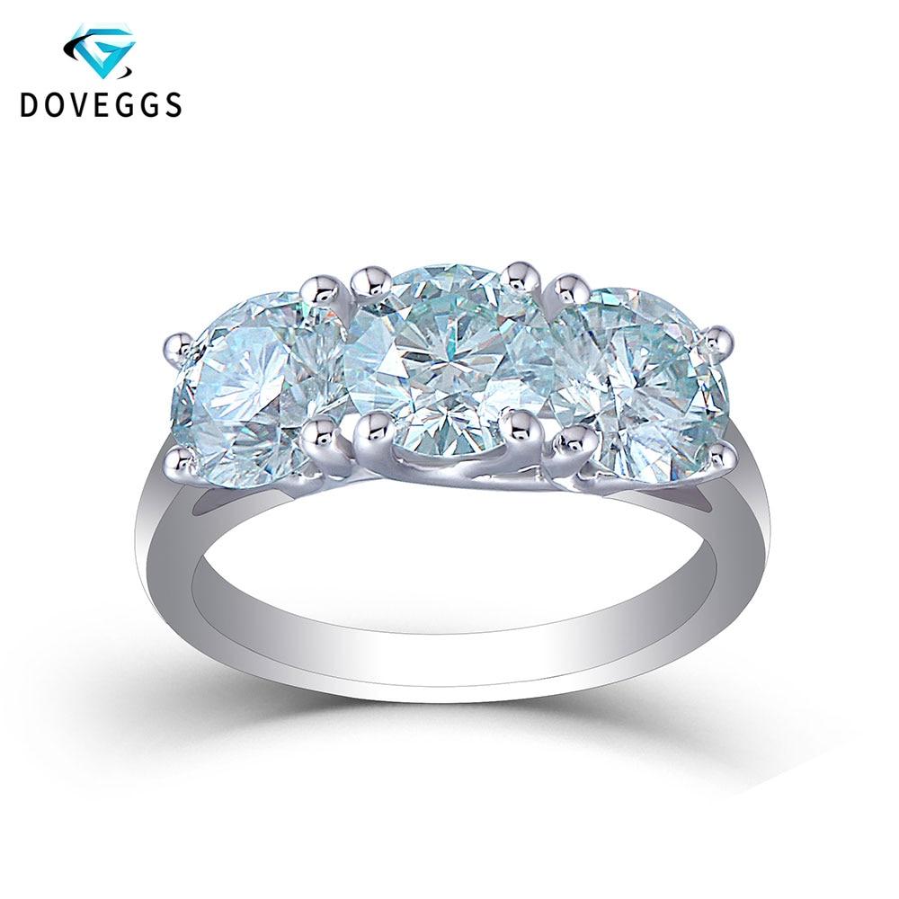 DovEggs Elegant 3CTW 6.5mm Slight Blue Moissanite Sterling Solid 925 Silver Three Stone Engagement Ring for Women Wedding Gift