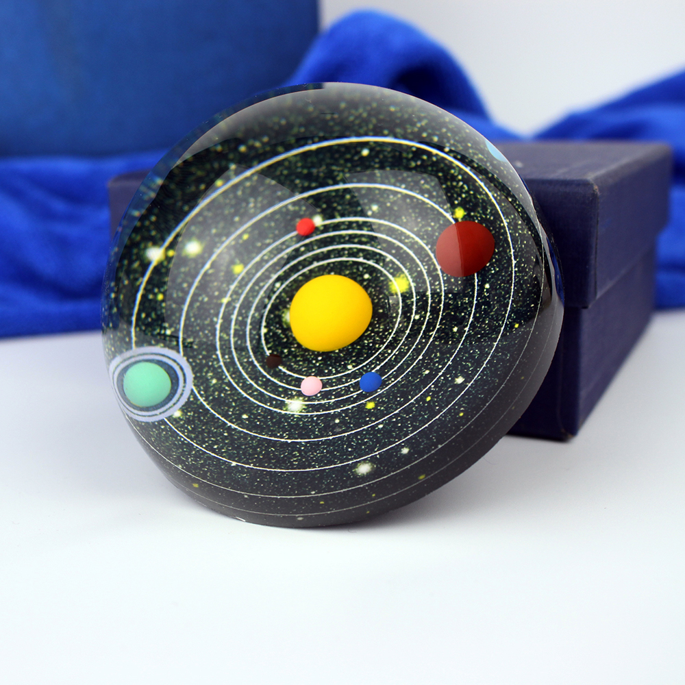 Galaxy 8 Planets Solar System Planet Crystal Half Ball Paperweight Decor Astronomical Educational Gift