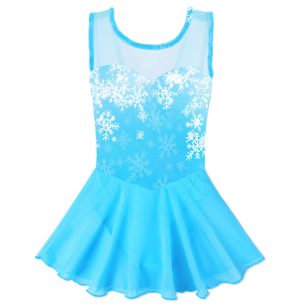 BAOHULU Teen Girls Leotard Cotton Tulle Ballet Dress Kids Snowflake Tutu Ballet Dance Wear Child Ballerina Costume Blue Pink