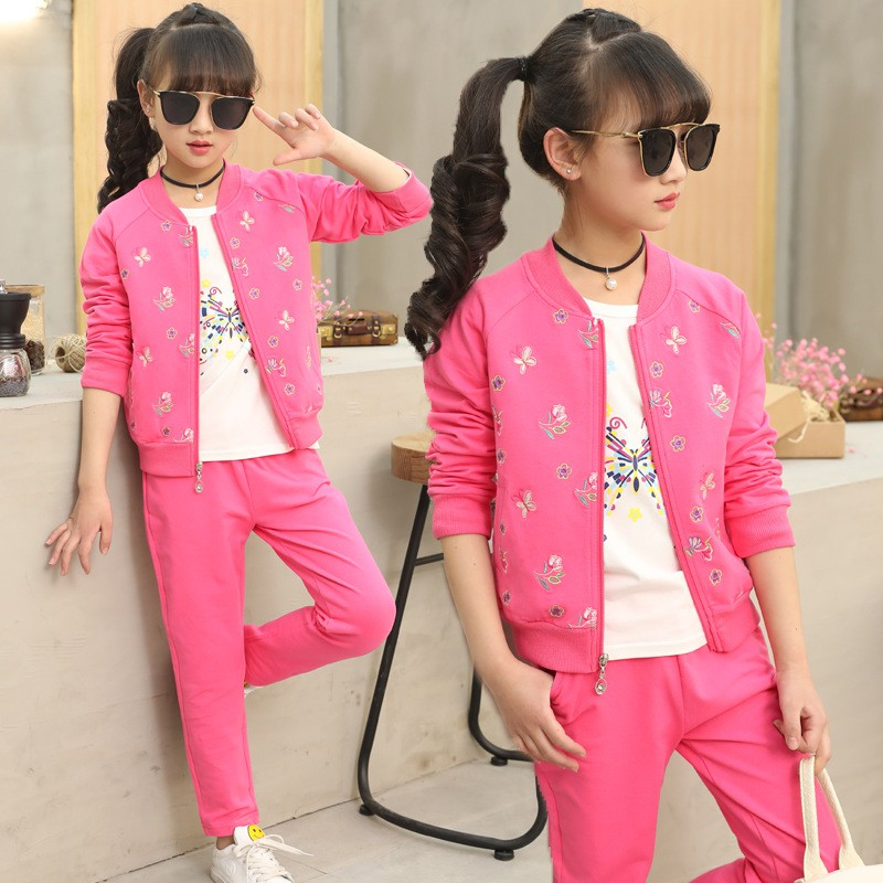 2018 New Fashion Girls 3 Piece Set Coat + White T-shirt + Pant Autumn Childrens Sports Suits Kids Girls Clothing Sets Tracksuit2018 New Fashion Girls 3 Piece Set Coat + White T-shirt + Pant Autumn Childrens Sports Suits Kids Girls Clothing Sets Tracksuit