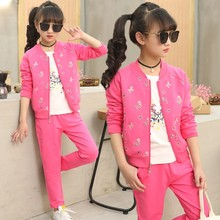 2018 New Fashion Girls 3 Piece Set Coat + White T-shirt + Pant Autumn Children's Sports Suits Kids Girls Clothing Sets Tracksuit