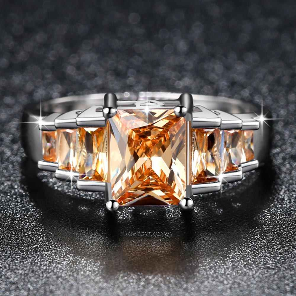 Beiver 2018 New Fashion Champagne Princess cut AAA Cubic Zirconia Wedding Brand Rings for Women Silver Color Jewelry Best Gifts