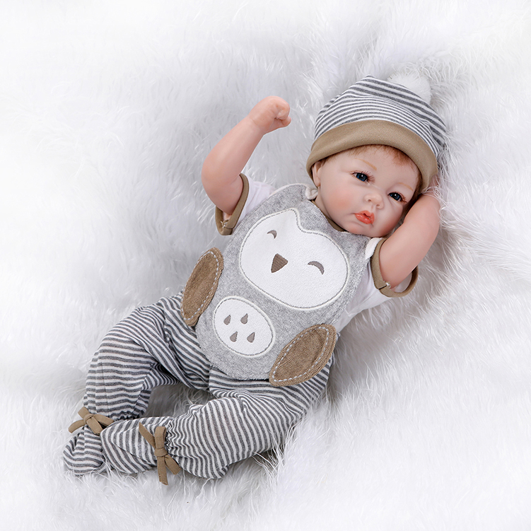 Nicery Bebe Reborn Doll 20-22inch 50-55cm Soft Silicone Boy Girl Toy Reborn Baby Doll Gift for Children Owl Bib Doll Stuffed Toy nicery 18inch 45cm reborn baby doll magnetic mouth soft silicone lifelike girl toy gift for children christmas pink hat close