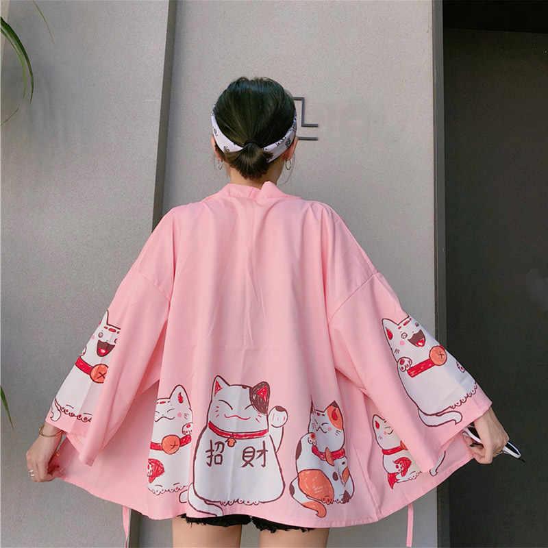 女性和風着物猫プリントシャツコットンリネン長袖ルーズブラウス 2019 夏のファッションの女性カジュアル服