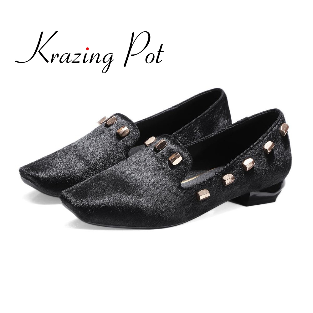 2017 fashion big size brand shoes apricot rivetl thick heel fur women pumps round toe horse hair office lady causal shoes L90 2017 new fashion brand spring shoes large size crystal pointed toe kid suede thick heel women pumps party sweet office lady shoe