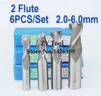 6 unids/set 2,0 ~ 6,0mm 2 flauta de fresado de aluminio Molino de extremo de CNC de herramienta de torno equipo cortador de fresado rotativo