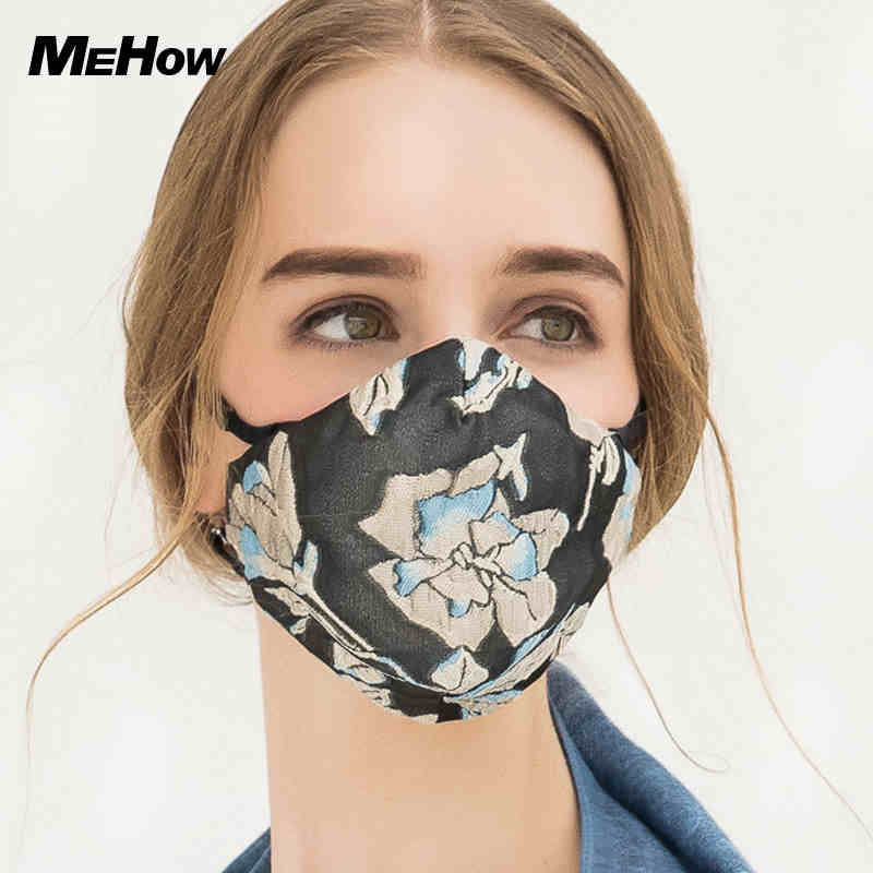 MeHow Cotton Flower Pattern Embroidery Female Mouth Mask Anti Fog Haze Pollen pm2.5 Rubber Nose Filter Core Face Mask Halloween [sf 11] fixed with zipper sissy boy rubber latex mask cross dressing halloween horror female mask female mask sissy boy