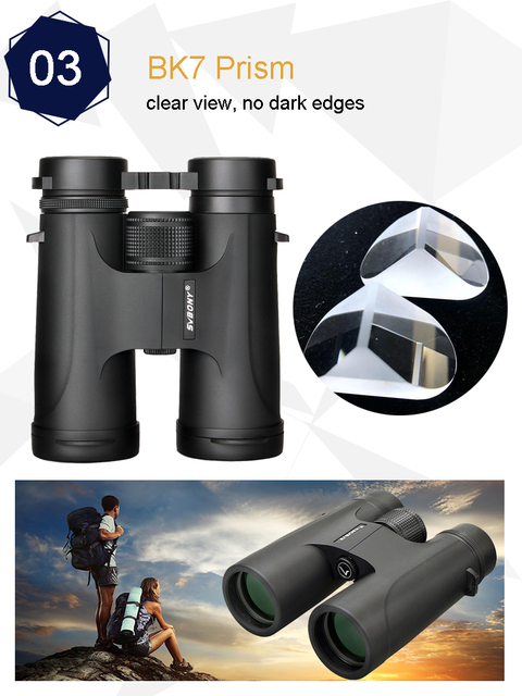 Svbony 10X42/8X32 binoculars high power binocular professional telescope powerful jumelles spyglass telescopes for tourismF9333B