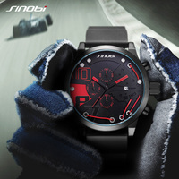 Sinobi Fahion Men Watches Top Brand Luxury Full Steel Quartz Clock Racing Sport Men Chronograph Watch