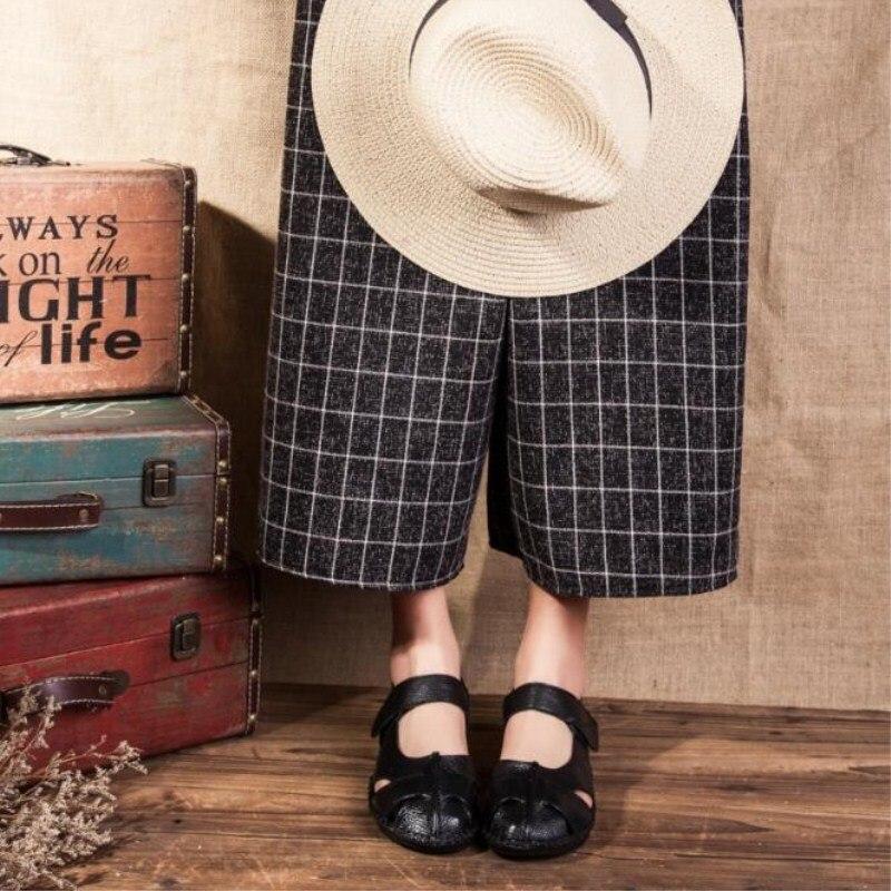 Bovins gris rouge En Cuir D'été Mode Femmes Véritable Nouvelle Taille Occasionnels Rétro Ciel Chaussures Chaude Joker Modèles Creux Main Grande pu Noir De Simples Pur xxgqS7O
