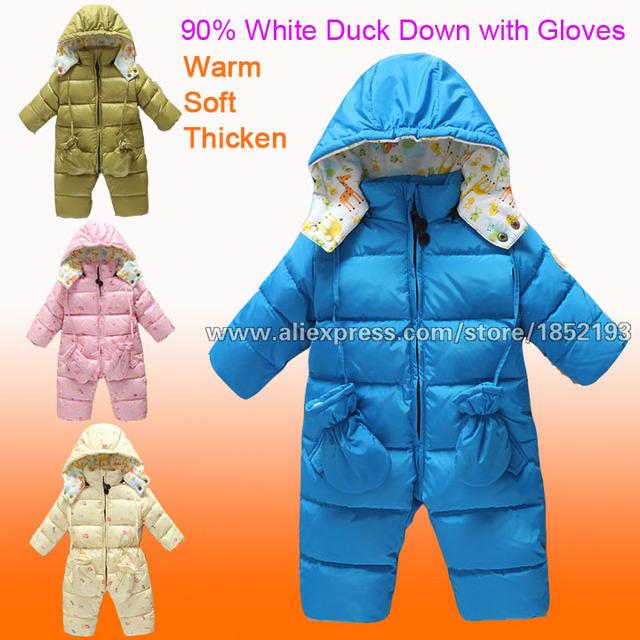 Invierno del mono del bebé del desgaste de la nieve muchachos de las muchachas esquí embroma la ropa 90% Down a prueba de agua vestido de la navidad 18M-4Y