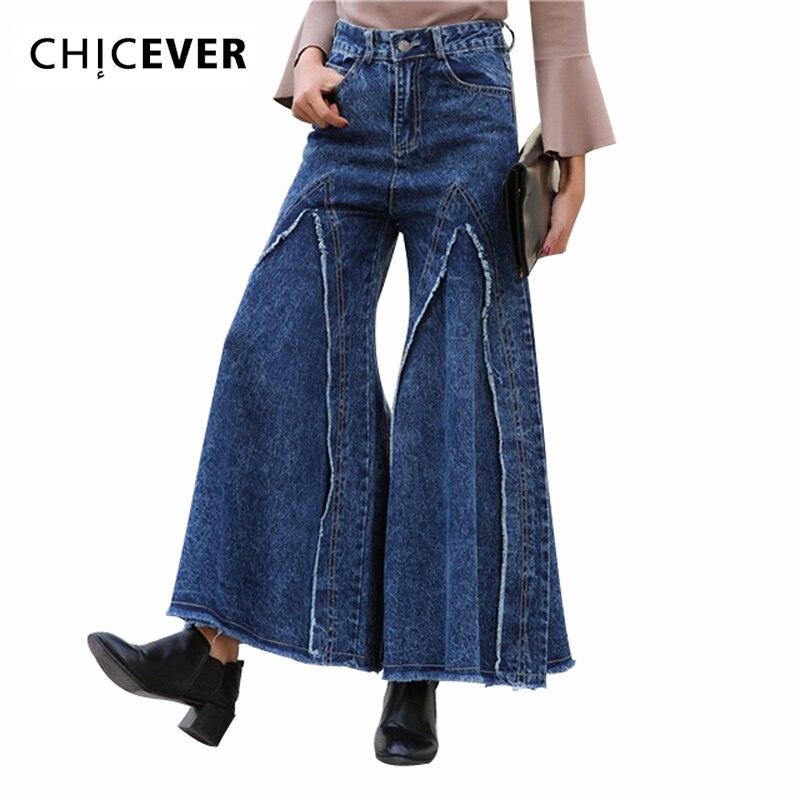 ФОТО [CHIEVER] Spring Solid High Waist Pant Denim Burr Casual Big Leg Flare Wide Leg Pants Women New Fashion Trousers