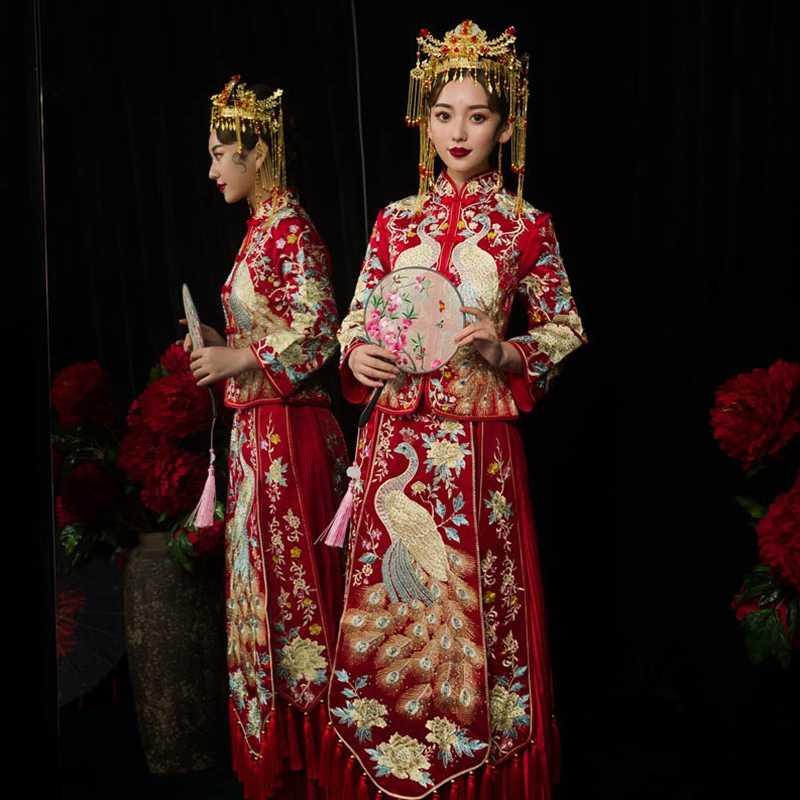 Традиционное китайское свадебное платье чонсам, свадебное платье 2019 свадебное платье со стразами павлин одежда с вышивкой De Mariee TS591