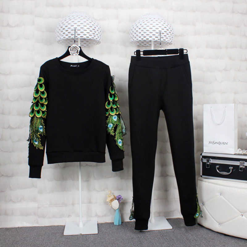 Two piece Set Women Sportswear Peacock Tracksuit Brand 2019 Spring Autumn Embroidery Top and Pant Sets
