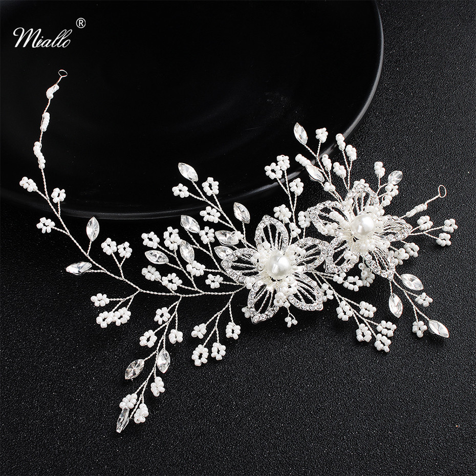 Miallo Newest Two Flower Flexible Crystal Headbands for Women Wedding Hair Accessories Jewelry Crown Bride Headpieces Tiaras 00009 red gold bride wedding hair tiaras ancient chinese empress hair piece