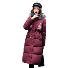 New 2017 Snow wear large fur collar coat women parka long winter ladies coats and jackets thick wadded jacket female 4L05