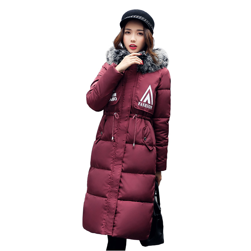 New 2017 Snow wear large fur collar coat women parka long winter ladies coats and jackets thick wadded jacket female 4L05 korean winter jacket women large size long coat female snow wear cotton parkas hooded thick warm coats and jackets 7 colors