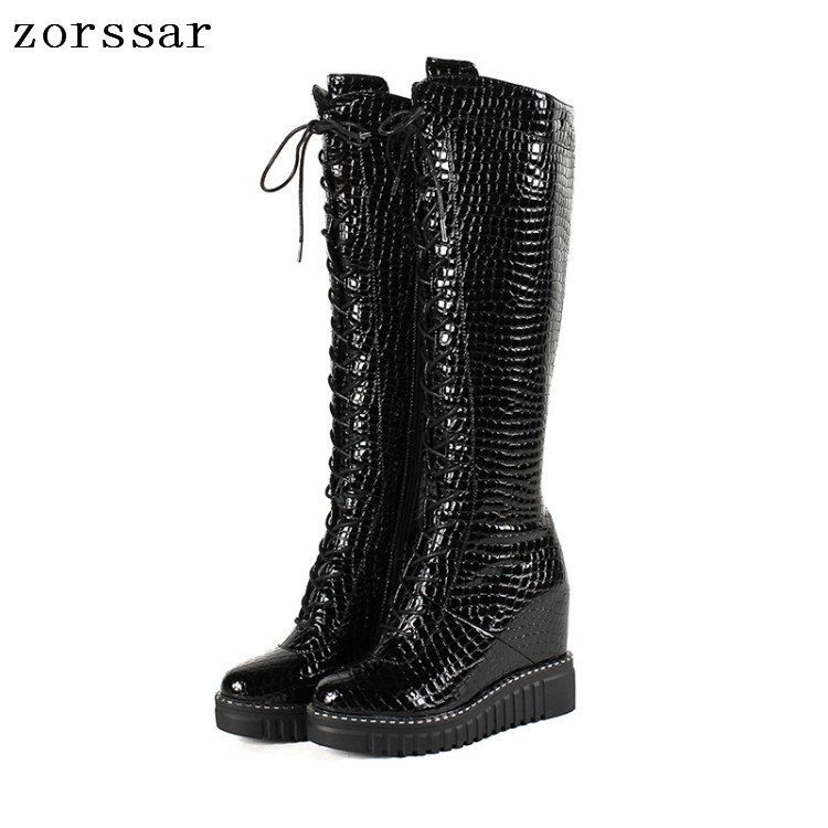 {Zorssar} Genuine Leather Female High Boots Women Knee High Boots High heels Platform Wedge Womens Shoes Winter Fur Snow Boots цена