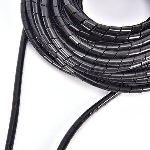 Image 3 - 6mm Outside Dia 13M PE Sheath Tube Spiral Range Cache Cable Cord Wire Organizer PC TV Black