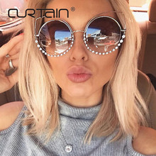 2017 Fashion Sexy Round Cat Eye Sunglasses Women Coating Reflective Mirror Diamond Decoration Glasses Female Shades UV400