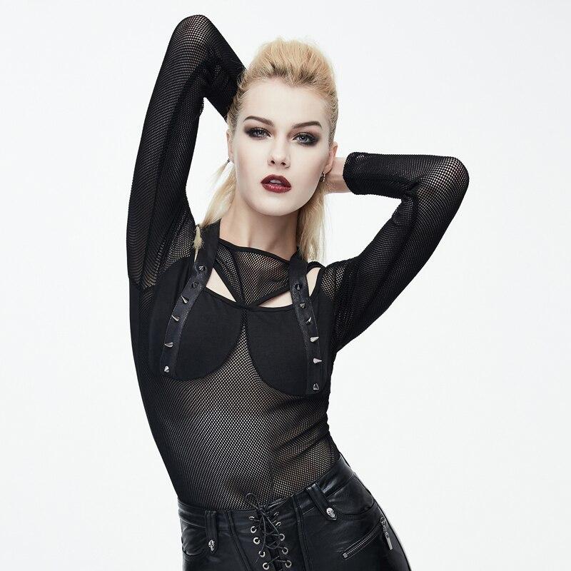 Diable mode Punk noir Sexy Transparent moulante femmes T-Shirts Style gothique Rivet évider col rond mince T-Shirt T-Shirt offre spéciale