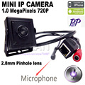 Mini câmera ip mini câmera 1.0MP ONVIF ip HD H.264 P2P Vigilância CCTV IP Câmera 2.8mm MINI lente Do Telefone Móvel