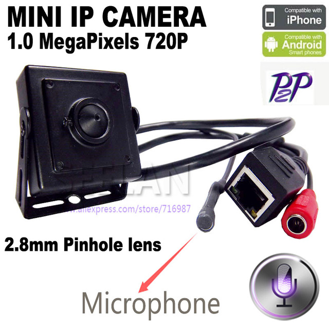 Mini cámara ip mini 1.0MP ONVIF ip HD H.264 P2P CCTV de Vigilancia IP Cámara Del Teléfono Móvil 2.8mm MINI lente