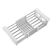 Stainless Steel White Drain Rack/ Basket Pool Dish Rack Washing Basket Kitchen Sink Storage Rack Wall Hanging Kitchen Accessory