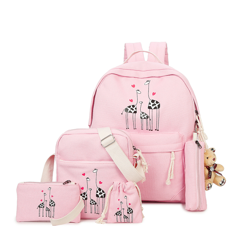 Korean Style 6 Pcs set Women Large capacity Canvas Animal Printing College Backpack for Girls Female