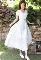 New 2016Fashion Women Summer dress elegant polka dot long chiffon dress white color big bottom longo vestido plus sizeXXXXL98389