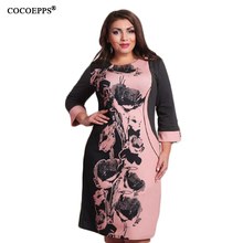 New Fashion Style Casual Women Plus Size Dress Straight Patchwork Floral Print Full Sleeve O Neck
