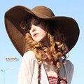 Envío gratis las nuevas mujeres Floppy Derby sombrero grande ancho de playa del verano del borde de paja sombrero de sol