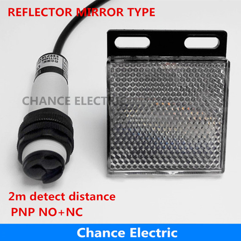 все цены на free shipping pnp no+nc reflector mirror type light sensor 2m detect distance photoelectric sensor switch infrared ( E18-3B2PC) онлайн