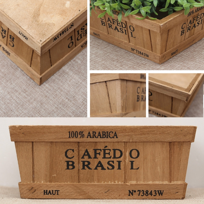Wooden succulent plant flower herb bed pot window box for Wooden attic box bed