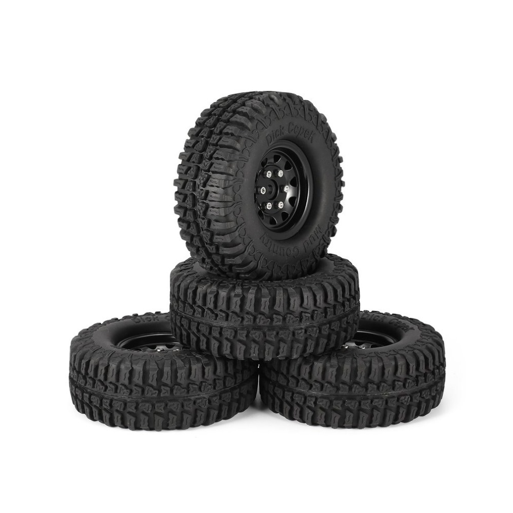 4Pcs 1.9 Inch 100mm Rubber Tires Tire with Metal Wheel Rim Set for 1/10 Traxxas TRX-4 SCX10 RC4 D90 RC Crawler Car Part 4pcs 1 9 rubber tires