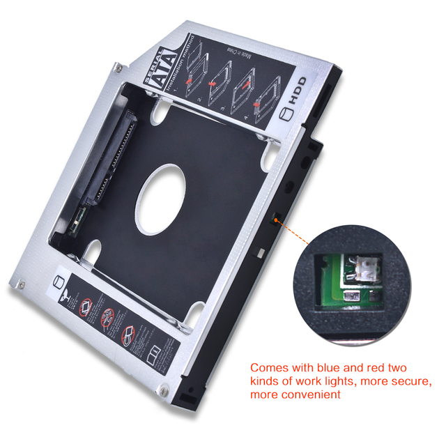 TISHRIC aluminium HDD Caddy 9.5 12.7mm SATA 3.0 Optibay skrzynka dysku twardego obudowa DVD Adapter 2.5 SSD 2TB do laptopa CD-ROM