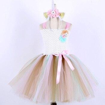 Baby Girl Pony Tutu Dress for Children Birthday Party Unicorn Costume Set Little Girls Kids Pony Clothing with Unicorn Headband