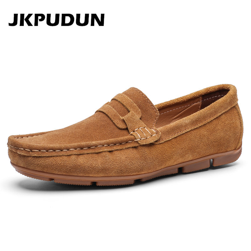 JKPUDUN Mens Shoes Slipon Suede Handmade Luxury Brand Big-Size Casual Loafers Breathable