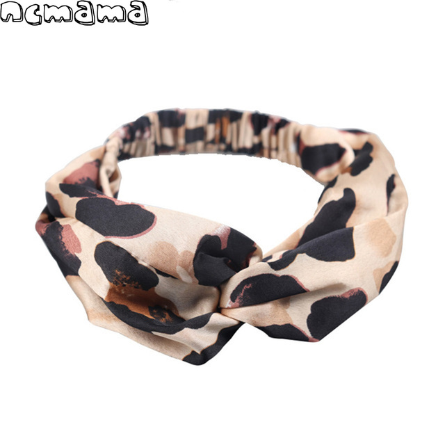 Leopard Cross knot Headband for Women Girls Twisted Elastic Hair Band Knotted Turban Ladies Hair Accessories with Pattern