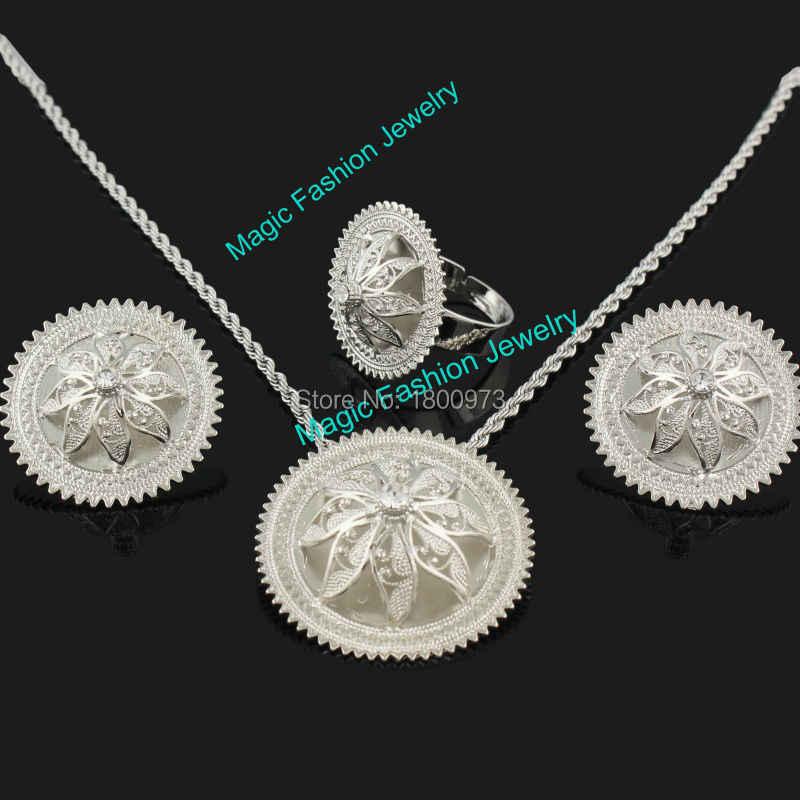 Neueste Äthiopischen Kristall Anhänger/Ohrringe/Ring/Halskette Schmuck Versilbert Habesha Schmuck African 4 STÜCKE Hochzeit Schmuck Sets