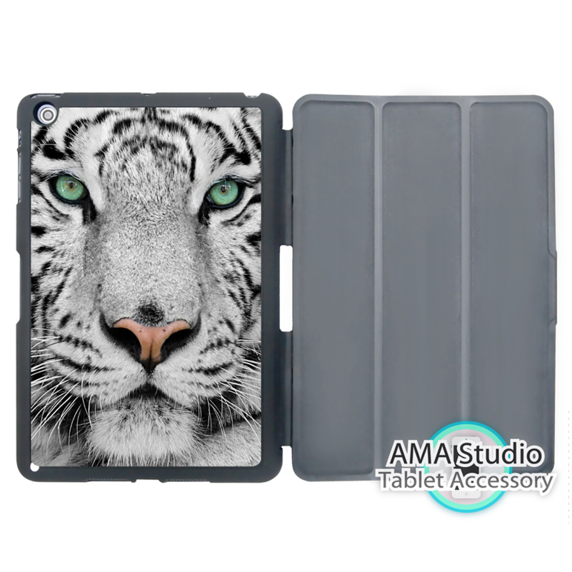 White Snow Tiger Smart Cover Case For Apple iPad Mini 1 2 3 4 Air Pro 9.7 Wake UP Sleep smart tiger